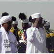 The President of Chad, Idris Deby, is received at El Geneina airport on Wednesday by Sudan's President Omar Al Bashir (SUNA)