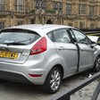 The Ford Fiesta that crashed outside the Houses of Parliament in London yesterday (Picture: Met Police)
