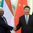 Sudanese President Omar Al Bashir Bashir meets Chinese President Xi Jinping in Beijing on Sunday. (Xinhua)