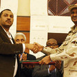 Ahmed Rabee for the FFC, and TMC Deputy Chairman Lt Gen Mohamed Hamadan 'Hemeti' on behalf of the TMC at the signing ceremony at the Corinthia Hotel in Khartoum last week (Picture: SUNA)