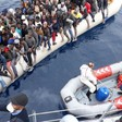 A heavy-laden inflatable boat is intercepted off Libya (File photo: Libyan Coast Guard)