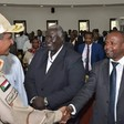 Member of the Sovereign Council and commander of the Rapid Support Forces Mohamed Hamdan 'Hemeti' greets the rebel leaders Malik Agar and El Hadi Idris in september 2019 in Juba (Social media)