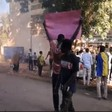 Protest in front of the headquarters of the Sudanese Professionals Association yesterday, denouncing the violence against protestors (RD correspondent)