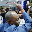 Radio Dabanga editor-in-chief Kamal El Sadig is welcomed by supporters and listeners at Khartoum airport on arrival on January 17