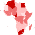 The spread of recorded coronavirus cases in Africa on 23 April (Wikipedia Canuckguy)