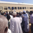 Railway staff stage a protest in Khartoum on 28 July 2020 (Social media)