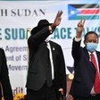 Chairman of Sudan's Sovereign Council Lt Gen Abdelfattah El Burhan, the South Sudan President Salva Kiir, and Sudan's Prime Minister Abdallah Hamdok at the signing of the peace agreement in Juba on Monday (RD)
