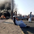 Protestors in Suakin block the Port Sudan-Khartoum highway on October 14 (Social media)