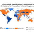 The countries that ratified (dark blue: 57) and signed (light blue: 49) the Convention on Enforced Disappearances, and the 91 countries that didn't take any action yet (orange: 91) (UN)