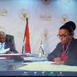 Sudan's Cabinet Affairs Minister, Omar Manis, and Finance Minister Heba Mohammed address Friends of Sudan meeting (Picture: SUNA)
