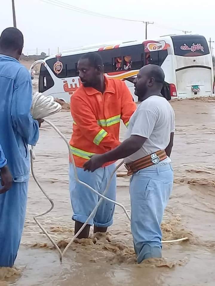 السيول تجتاح مدينة الجيلي شمال الخرطوم